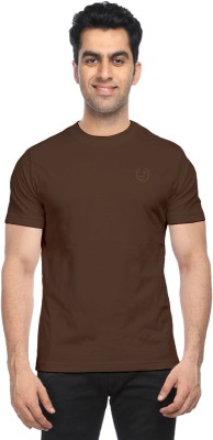 Moonwalker Solid Men's Round Neck Brown T-Shirt  available at flipkart for Rs.169