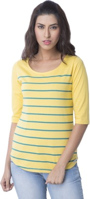 Cult Fiction Striped Women Scoop Neck Yellow T Shirt Cult Fiction Women's T shirts