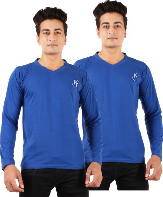 FTrick Solid Men's V-neck Blue T-Shirt(Pack of 2)