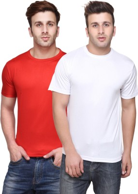 Funky Guys Solid Men's Round Neck Multicolor T-Shirt(Pack of 2)