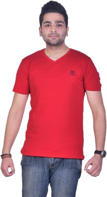 Colors & Blends Solid Men's V-neck Red T-Shirt  available at flipkart for Rs.225