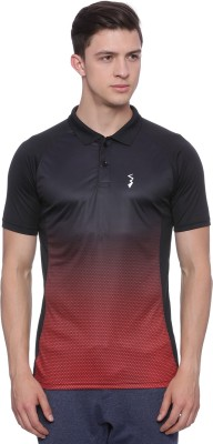 Campus Sutra Ombre Men Polo Neck Red, Black T-Shirt