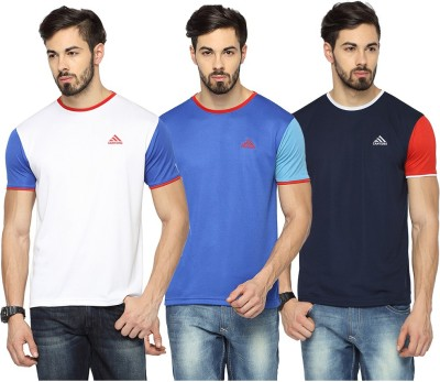Canyons Solid Men Round or Crew White, Blue, Dark Blue T-Shirt(Pack of 3) at flipkart