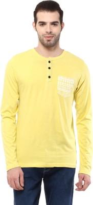 Yuvi Solid Men's Round Neck Yellow T-Shirt