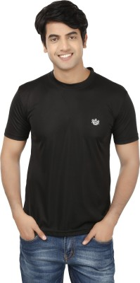 French Circle Solid Men's Round Neck Black T-Shirt