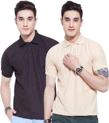 Go India Store Solid Men's Polo Neck Black, Beige T-Shirt(Pack of 2)