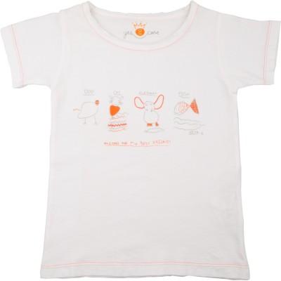 NeedyBee Girls Printed T Shirt(White)