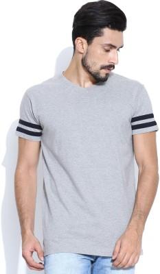 Hubberholme Solid Men's V-neck Grey T-Shirt  available at flipkart for Rs.199