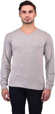Unisopent Designs Solid Men V neck Grey T Shirt