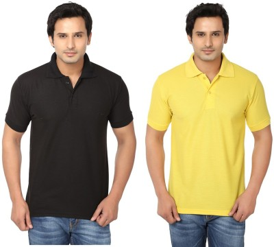 Keepsake Solid Men's Polo Neck Black, Yellow T-Shirt(Pack of 2)