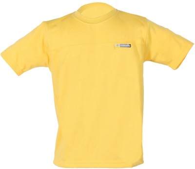 Awack Boys Solid Cotton Blend T Shirt(Yellow, Pack of 1)