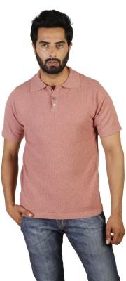 Oldberri Self Design Men's Polo Neck Brown T-Shirt