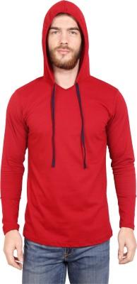 Leana Striped Men Henley Dark Blue, Red T-Shirt