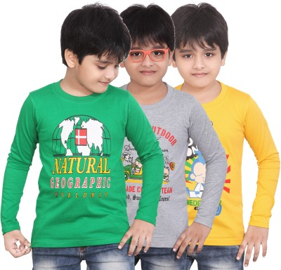 Dongli Boys Printed T Shirt(Multicolor, Pack of 3)