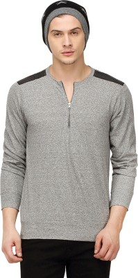 Campus Sutra Solid Men Round or Crew Grey T-Shirt at flipkart