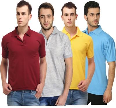 FM Fashionmania Solid Men Henley Black, White, Maroon, Grey, Blue T-Shirt(Pack of 5)