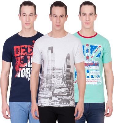 American-Elm Self Design Men's Round Neck Multicolor T-Shirt(Pack of 3)