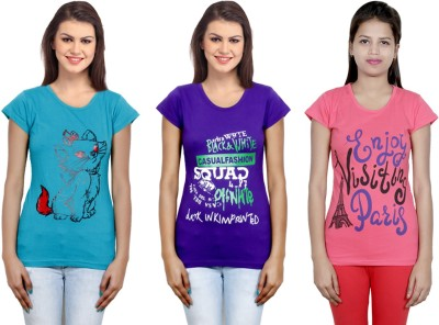 IndiStar Printed Women Round Neck Blue, Purple, Pink T Shirt Pack of 3