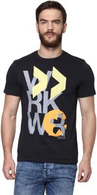 Celio Geometric Print Men's Round Neck Black T-Shirt
