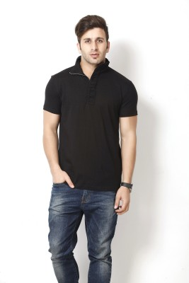 Gritstones Solid Men Polo Neck Black T-Shirt