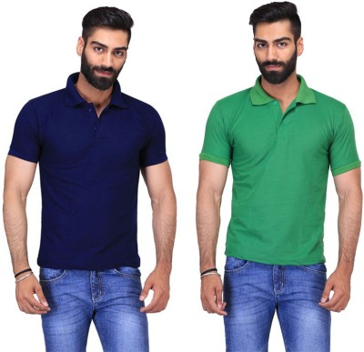 Fuego Solid Men's Polo Neck Dark Blue, Light Green T-Shirt(Pack of 2)