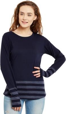 Hypernation Striped, Solid Women Round Neck Blue, Grey T Shirt Hypernation Women's T shirts