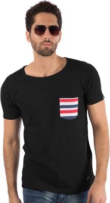 Rodid Solid Men Round or Crew Black T-Shirt at flipkart