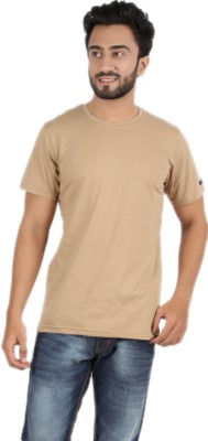 Funky Guys Solid Men's Round Neck Beige T-Shirt