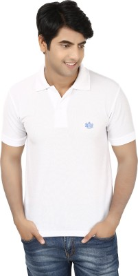 French Circle Solid Men's Polo Neck White T-Shirt