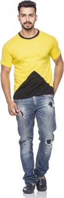 Demokrazy Solid Men's V-neck Yellow T-Shirt