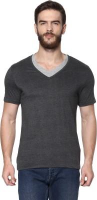 Celio Solid Men's V-neck Grey T-Shirt