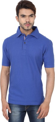 Reevolution Solid Men's Polo Neck Blue T-Shirt