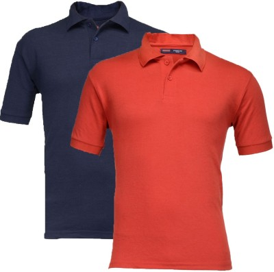 Feed Up Solid Men's Polo Neck Dark Blue, Red T-Shirt(Pack of 2)