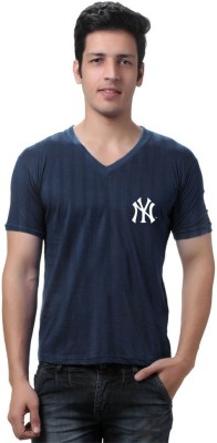 Cool Club Solid Men's V-neck Blue T-Shirt