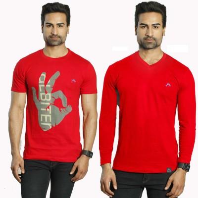 Albiten Solid Men's V-neck Red, Red T-Shirt(Pack of 2)