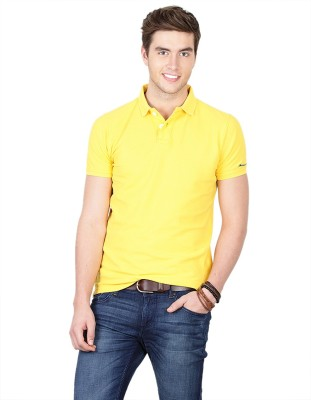 Basics Solid Men Polo Neck Yellow T-Shirt at flipkart