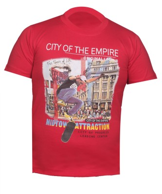 Awack Boys Printed Cotton T Shirt(Red, Pack of 1) Flipkart