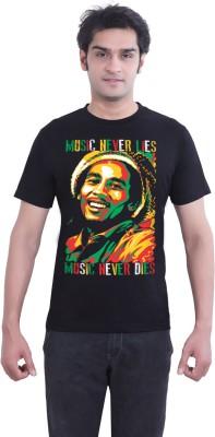 Tantra Graphic Print Mens Round Neck Black T-Shirt