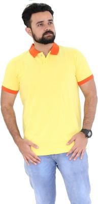 Oldberri Solid Men's Polo Neck Yellow, Orange T-Shirt