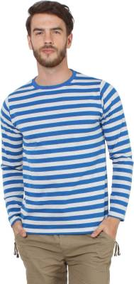 Sayitloud Striped Men's Round Neck White, Blue T-Shirt