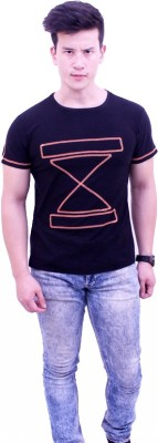 Jericho Solid, Embroidered Men's Round Neck Black T-Shirt