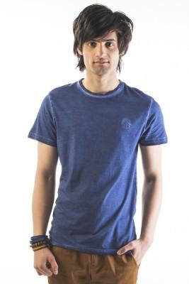 Srota Solid Men Round Neck Dark Blue T-Shirt