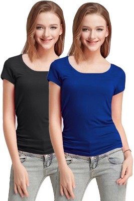 Fashion Line Solid Women Scoop Neck Multicolor T Shirt Pack of 2