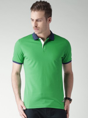Invictus Solid Men's Polo Neck Green T-Shirt at flipkart