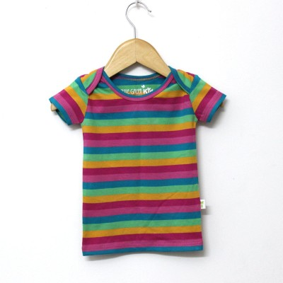 Little Green Kid Girls Striped T Shirt(Multicolor)