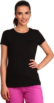Jockey Solid Women Round Neck Black T-Shirt