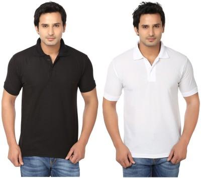 Keepsake Solid Men's Polo Neck Black, White T-Shirt(Pack of 2)