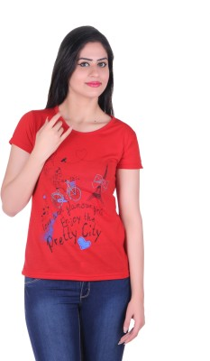Lluminati Graphic Print Women's Round Neck Red T-Shirt  available at flipkart for Rs.188