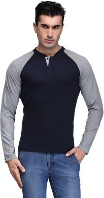 TSX Solid Men Henley Blue T Shirt
