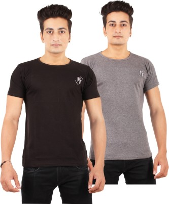FTrick Solid Men's Round Neck Black, Grey T-Shirt(Pack of 2)